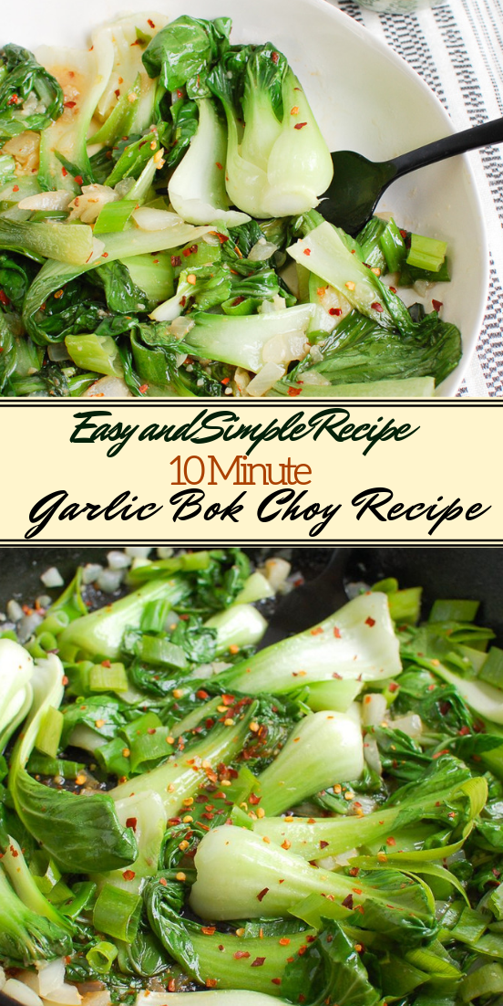10 Minute Garlic Bok Choy Recipe #vegan #vegetarian #soup #breakfast #lunch