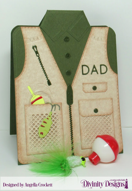 Divinity Designs Custom Dies: Couture Collection, Fishing and Hunting Vest, Alphabet Flags, Card Designer Angie Crockett