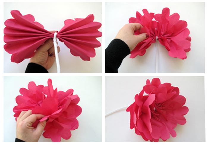 ms y ms manualidades Como hacer flores con servilletas de papel