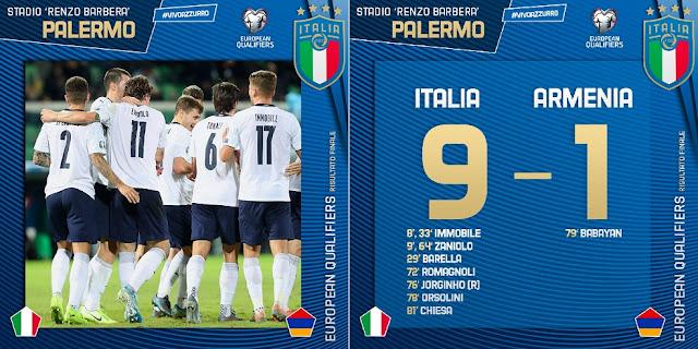 فيديو..منتخب إيطاليا يسحق ضيفه أرمينيا بنتيجة 9-1 في تصفيات اليورو 2020