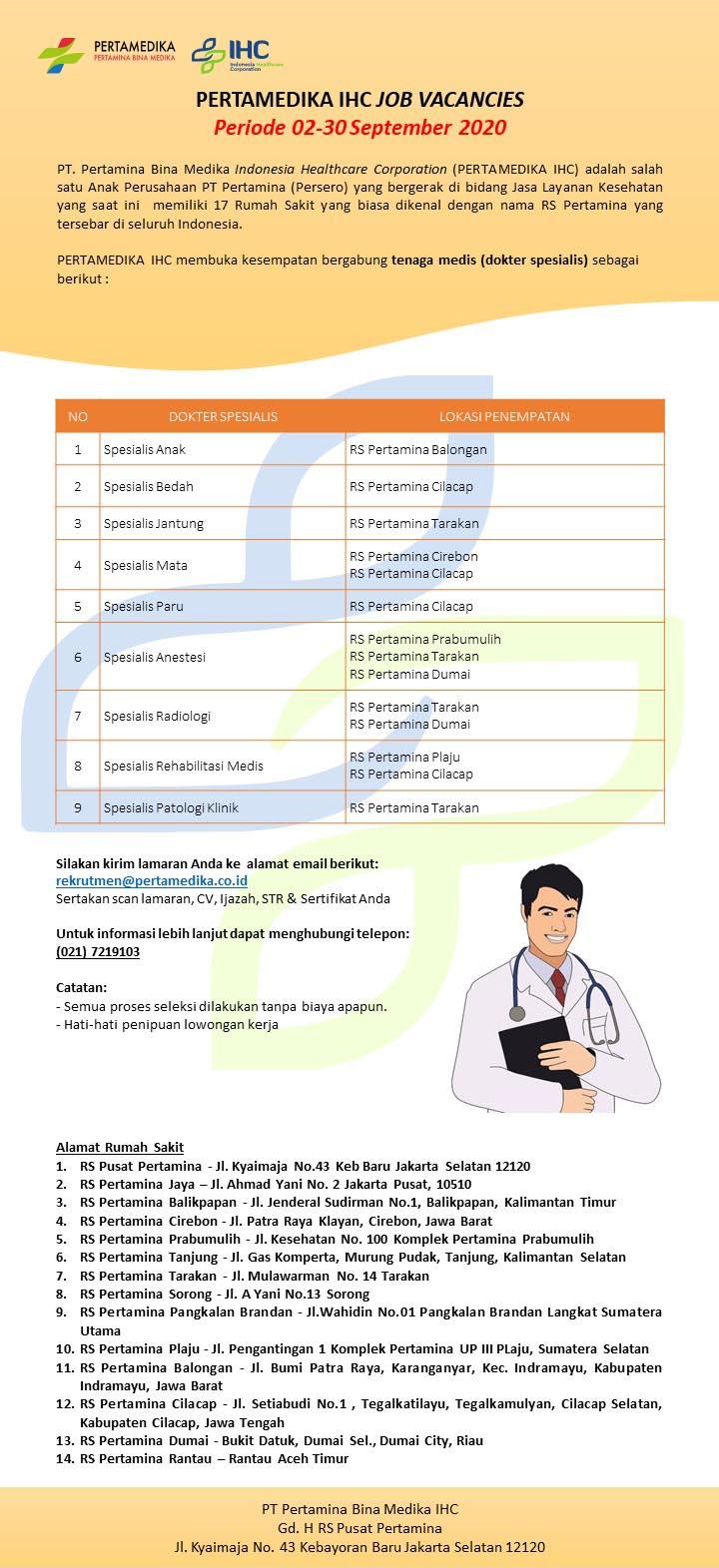Lowongan Kerja Rumah Sakit Pertamina [Pertamedika] September 2020