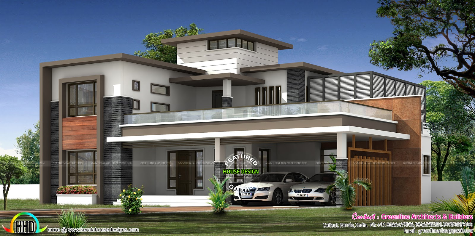 Contemporary House Architecture With Roof Garden Kerala Home Design