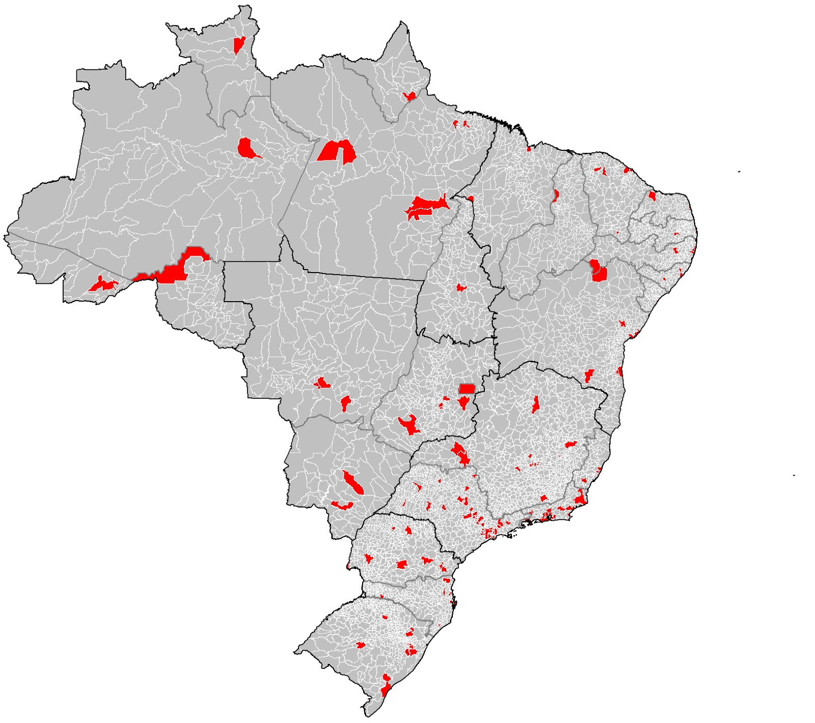 Half the population of Brazil lives in the blue shaded areas