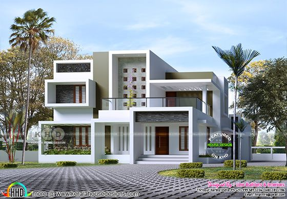 Contemporary box model house rendering