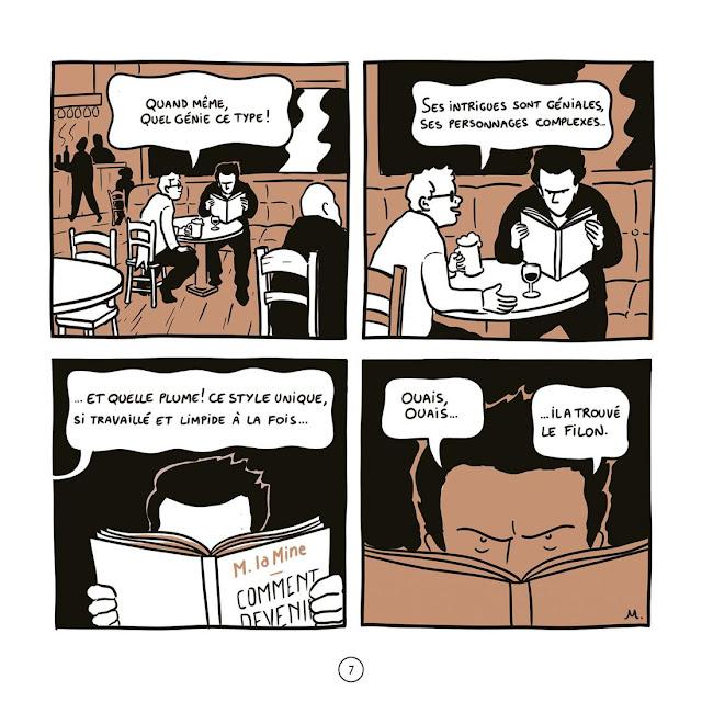 """page de """"Comment devenir un auteur à succès (ou à défaut un critique acerbe)"""" de M. La Mine chez Delcourt"""