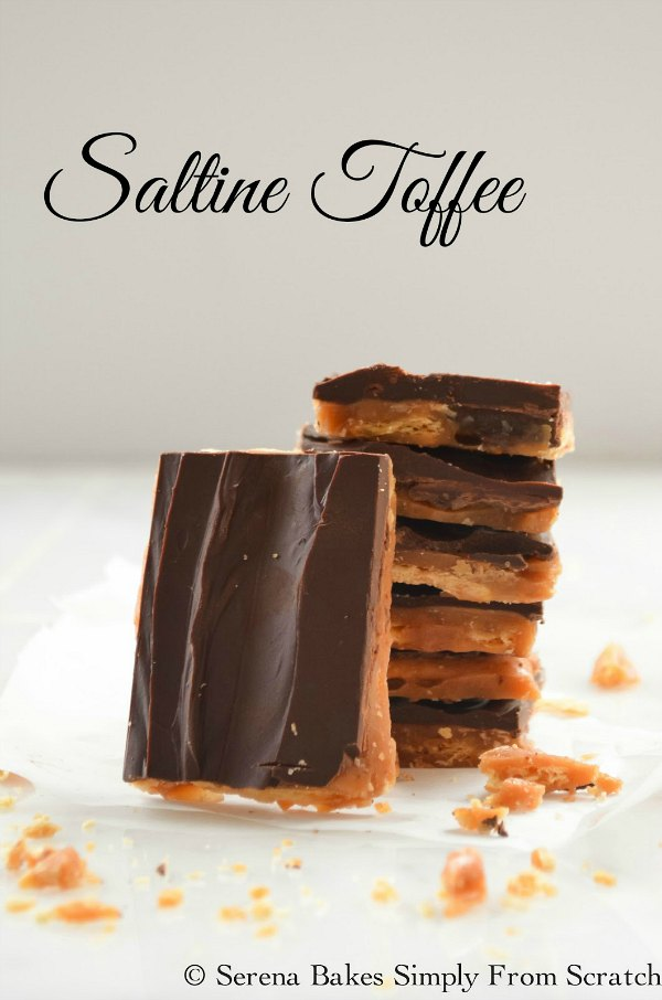 Saltine Toffee is salty crunchy and sweet. A delicious candy recipe to make for Christmas and is easy to make from Serena Bakes Simply From Scratch.