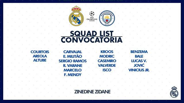 قائمة الفريق المستدعاة لمواجهة مانشستر سيتي غدا في دوري أبطال أوروبا.