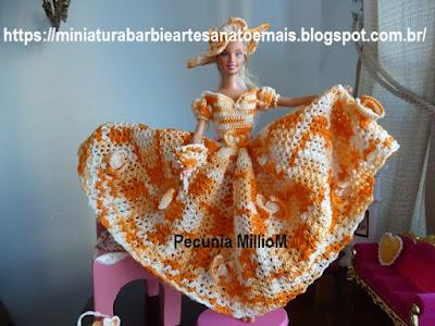 Vestido dA Bela e a Fera em Crochê Para Bonecas com Passo a Passo de Pecunia MillioM