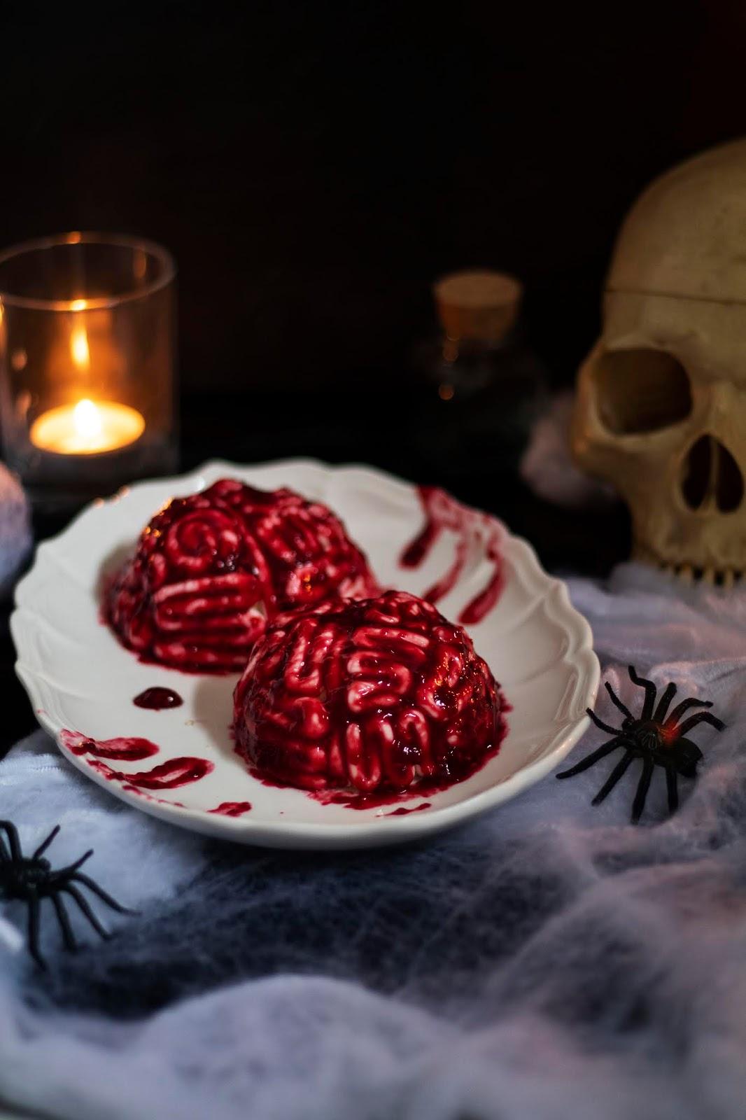 Recette de cerveaux d'Halloween au chocolat blanc et coeur coulant framboise