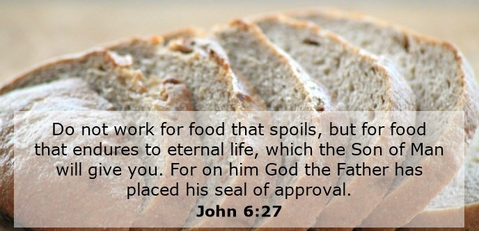 Do not work for food that spoils, but for food that endures to eternal life, which the Son of Man will give you. For on him God the Father has placed his seal of approval.