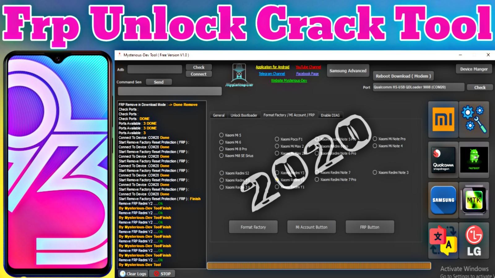 FRP, Mi Account, | Unlock Tool 2020 | Oppo, Vivo, Xiaomi, Qualcomm, | All samsung Frp Bypass Tool