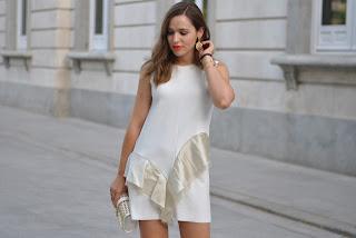 Gold/ White dress