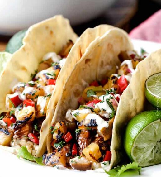 TERIYAKI CHICKEN TACOS WITH GRILLED PINEAPPLE PEAR SALSA #vegan #recipe