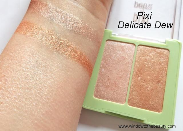 rozświetlacz duo pixi Delicate Dew swatche zdjęcia odcienie
