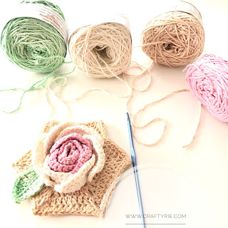 A fun, easy to make 3d crochet rose by CraftyRie.com
