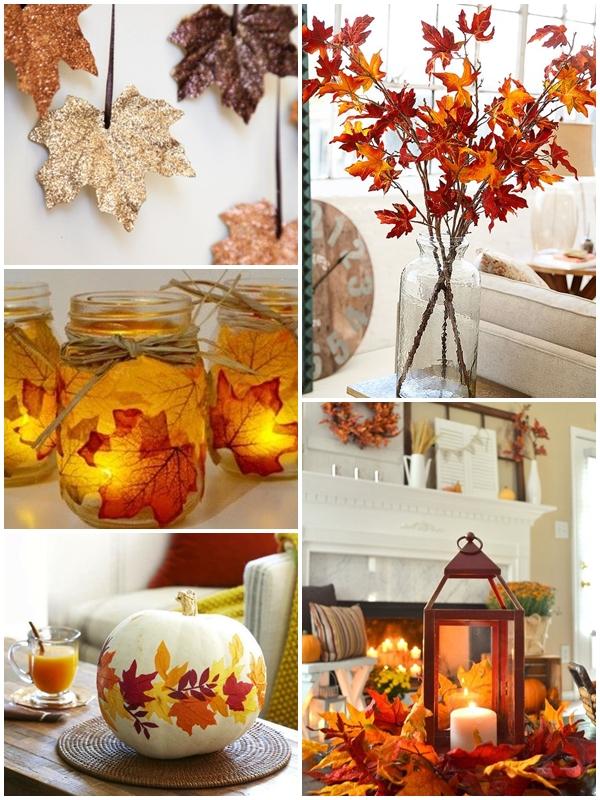 Spore pole do popisu stwarzają liście. Można je wykorzystać do lampionów, rozłożyć wokół świec, powiesić w oknie.