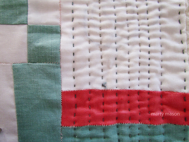 hand quilting, Jogakbo stitching and layering - slow stitching on thrift store linen  by Marty Mason