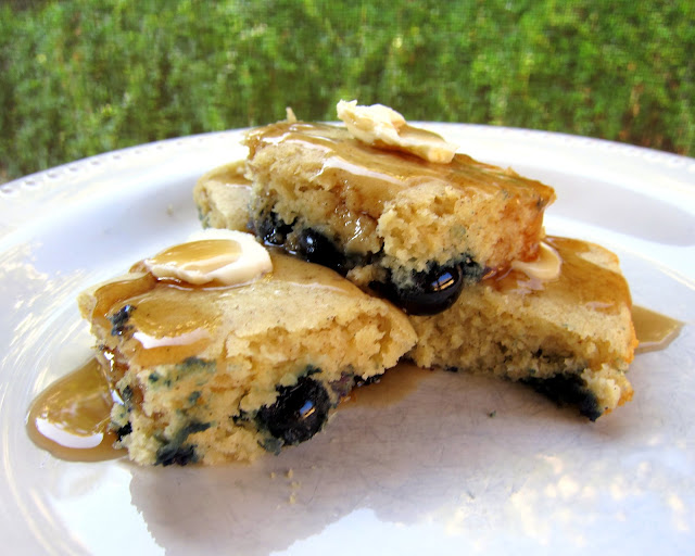 Baked Blueberry Pancakes - seriously delicious!! Great for a crowd! Milk, butter, eggs, vanilla, sugar, flour, baking powder, salt and blueberries. SO easy to make! Everyone LOVES these yummy baked pancakes!