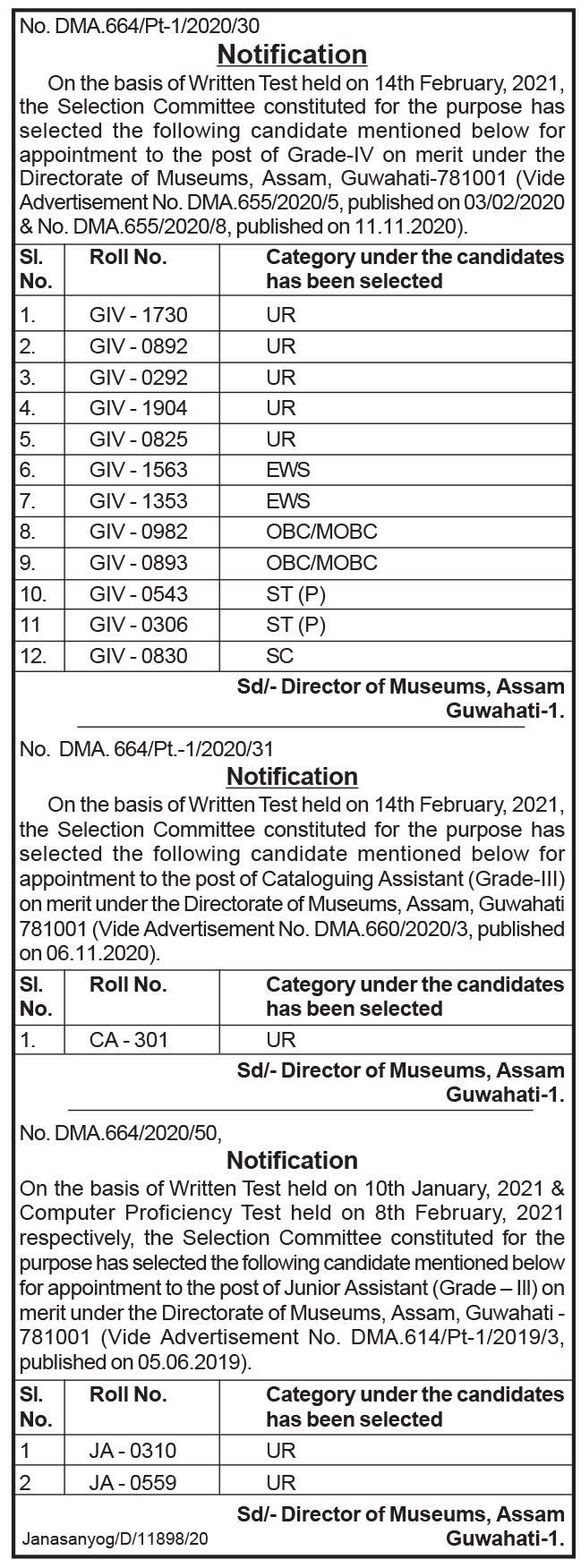 Directorate of Museums, Assam Results 2021: Grade IV, Junior Assistant And Booking Assistant Vacancy