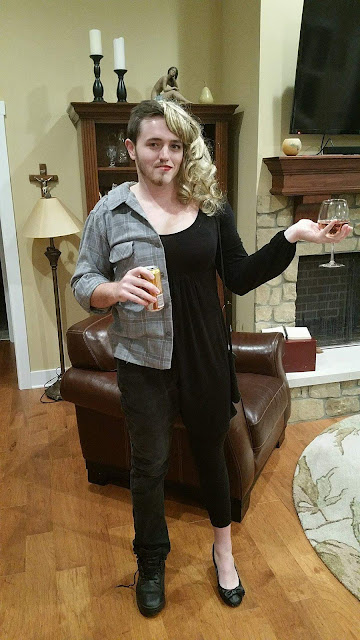 My brother was sad his girlfriend couldn't come to our Halloween party, so he came as both of them.