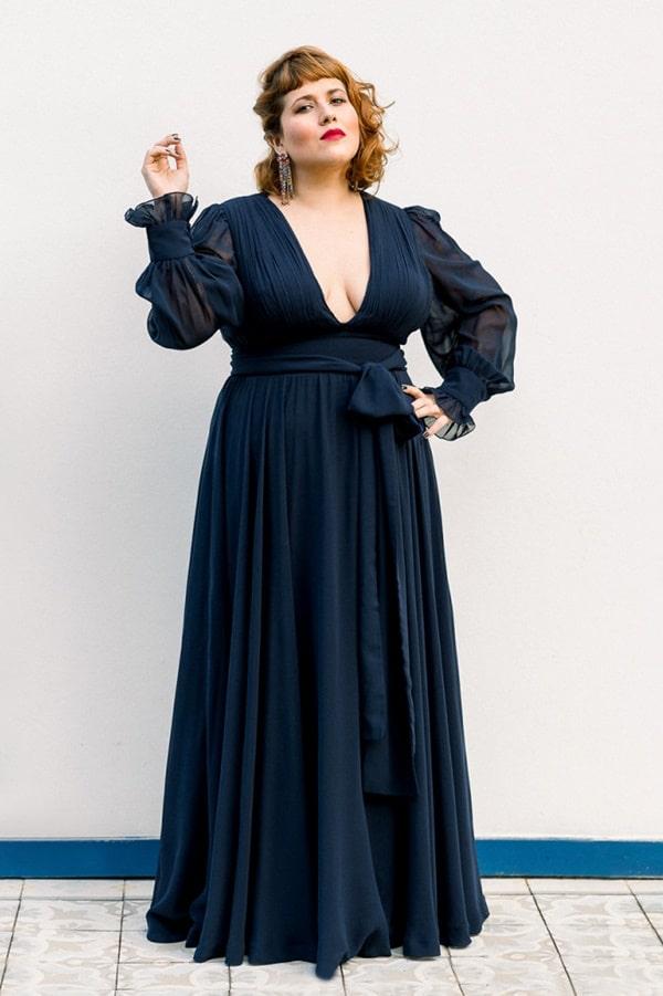 vestido longo azul marinho de seda