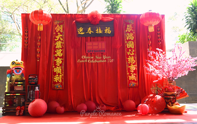 chinese new year backdrop, decoration, lantern, wooden crates, red carpet, sakura tree, cherry blossom, setup, corporate, annual dinner, kuala lumpur, selangor, bentong, pahang, melaka, hotel, event