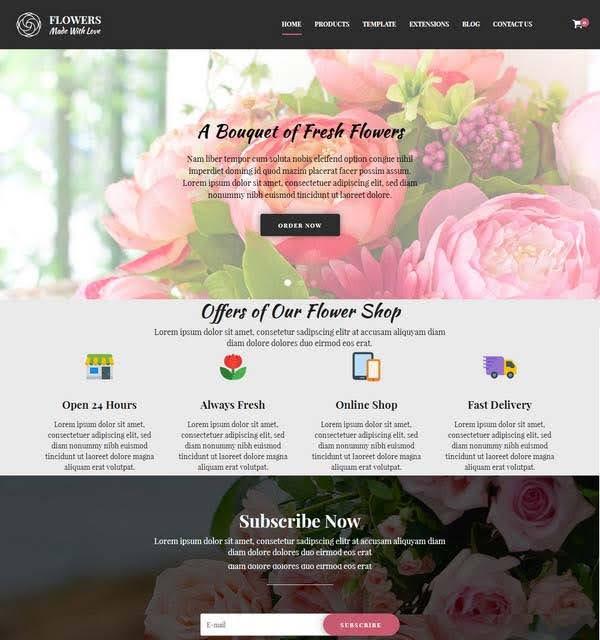 Mẫu trang web tiệm hoa vintage hồng - đen Hotflowers Hotjooml