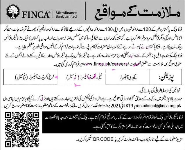 FINCA Microfinance Bank Limited  2021 Latest Jobs