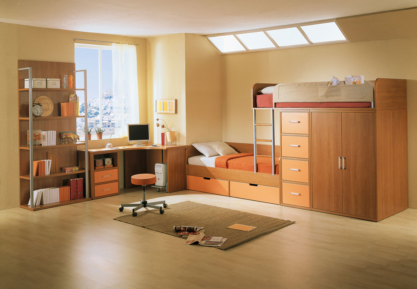 memilih desain tempat tidur tingkat 11086 | kids bedroom enchanting wood level beds with minimalist bookshelves also comfortable machintos computer table furniture amazing kids bedrooms and furniture design ideas