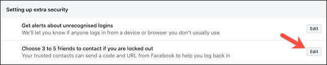 تحرير جهات اتصال Facebook الموثوقة