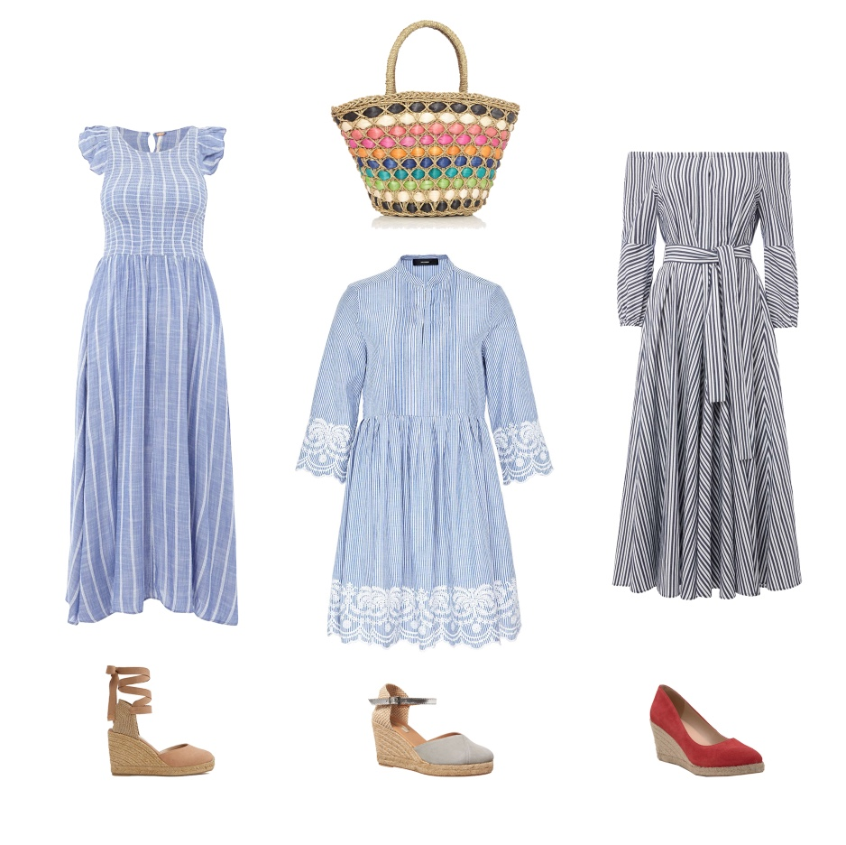 my midlife fashion, house of fraser, house of fraser summer dresses, free people long sleeve chambray butterflies midi dress, muschett espadrilles, therapy rainbow straw bag, hallhuber striped smock dress with lace, phase eight suede wedge espadrilles, marella silva off shoulder stripe dress, mint velvet grace red pointed wedge