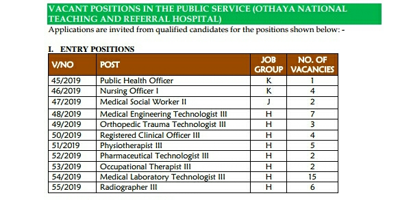 Jobs at othaya hospital 2019