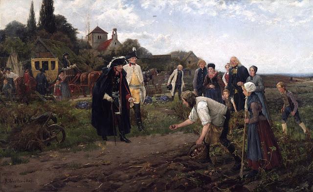 Federico II de Prusia inspeccionando cultivo patatas