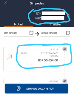 Bukti transfer ke Payfazz