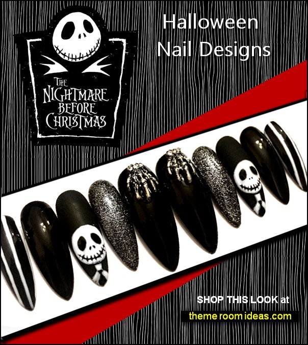 nightmare before christmas Halloween nails Halloween Nail Art jack skellington nails
