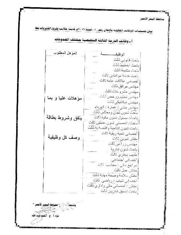 وظائف حكومية بمحافظة البحر الأحمر اعلان رقم 2 لسنة 2016 م