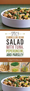 Spicy Cannellini Bean Salad with Tuna, Peperoncini, and Parsley found on KalynsKitchen.com