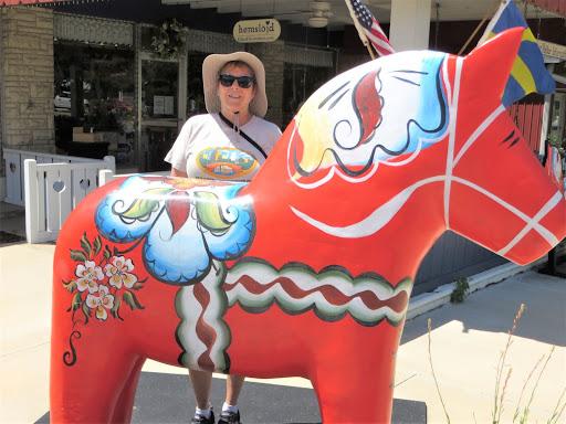 Large Dala Horse in front of Hemslojd Swedish Store, Lindsborg, Kansas, July 8, 2021