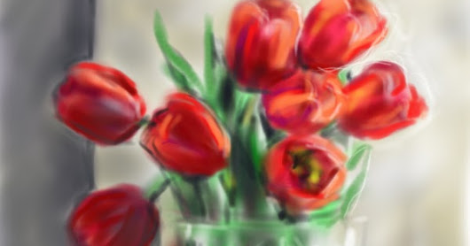 Tulips in a Crystal Vase