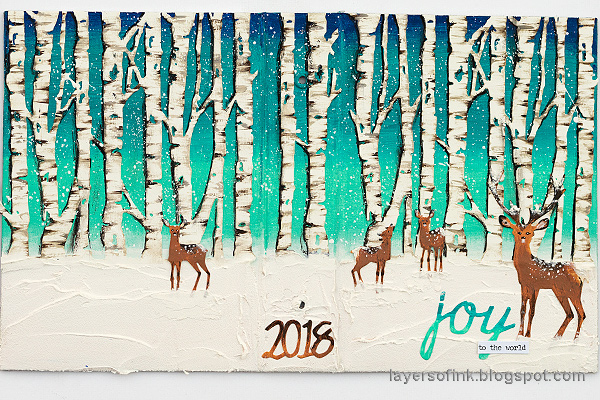 Layers of ink - Birch Forest December Daily Tutorial by Anna-Karin Evaldsson. Winter birch forest made with Sizzix Tim Holtz dies and acrylic paint.