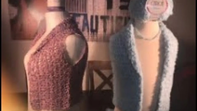 Hermoso Chaleco Bolero Blue a Crochet