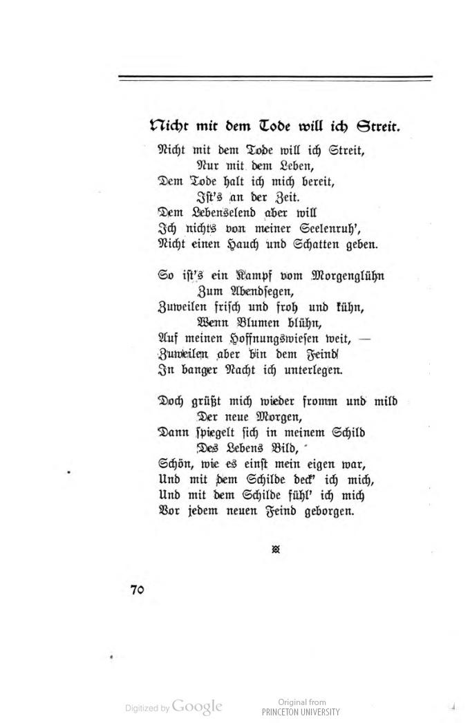 Epoesie Anna Behrens Litzmann Nicht Mit Dem Tode Will Ich Streit