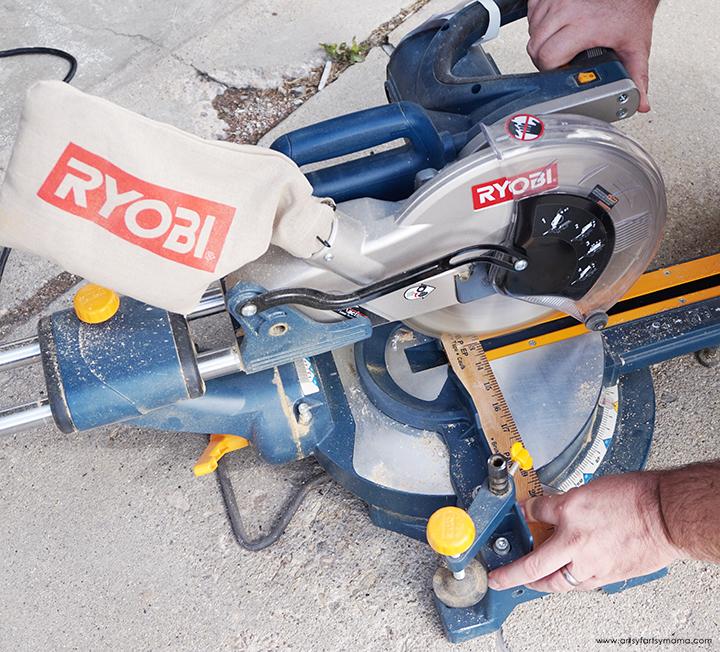cutting yardstick with chop saw