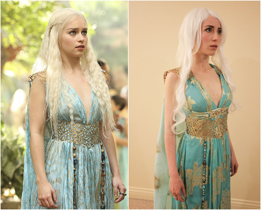 My Daenerys Qarth costume, with DIY cape, belt, beaded pieces and shoulder pads