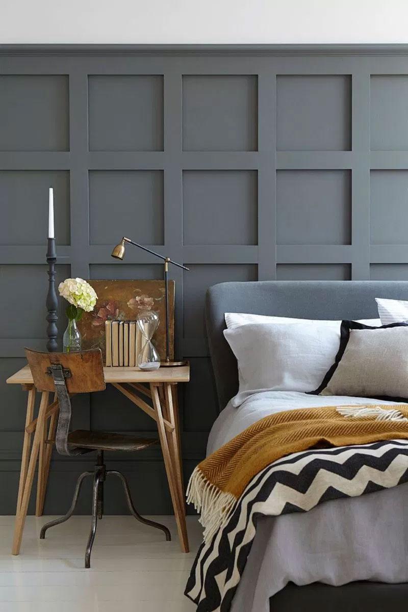 boiserie legno grigio per camera da letto