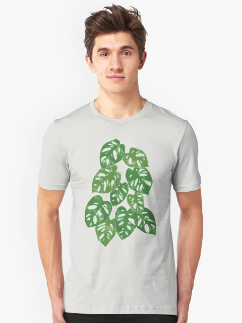 Monstera Adansonii Tropical Houseplant Hand-Painted Art Slim Fit T-Shirt