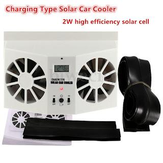 Car Window Built-in Battery Rechargeable Air Vent Cool Sun Solar Car Cooler Fan