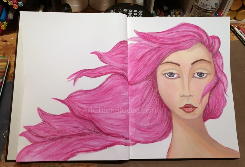 Beautiful Face Painted Journal Page