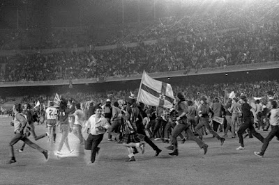 Rangers fans invade the pitch in Barcelona