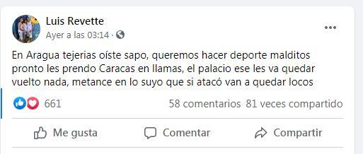 El Koki le envía mensajes al Régimen a través de su Facebook